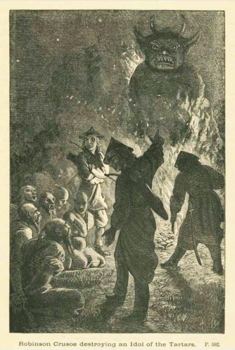 Крузо разрушает татарского идола. Иллюстрация к книге.