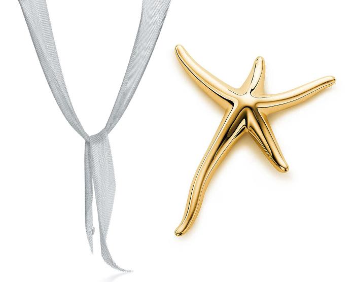 Колье-шарф и брошь в форме звезды.