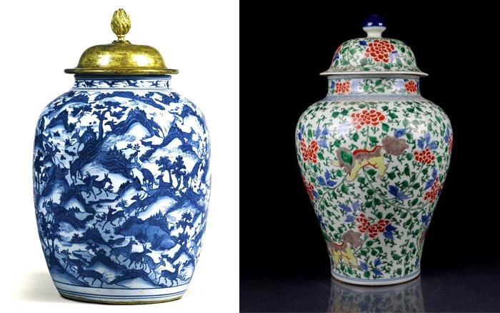 Бело-голубая и цветная вазы династии Мин.