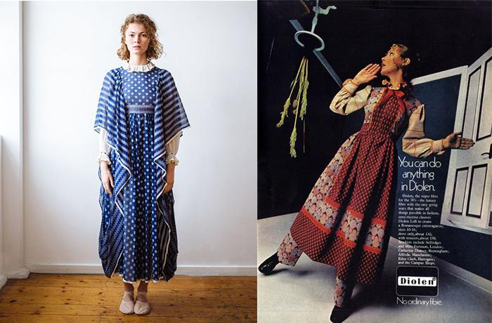 Слева - современная модель в винтажном платье от Джины Фратини.