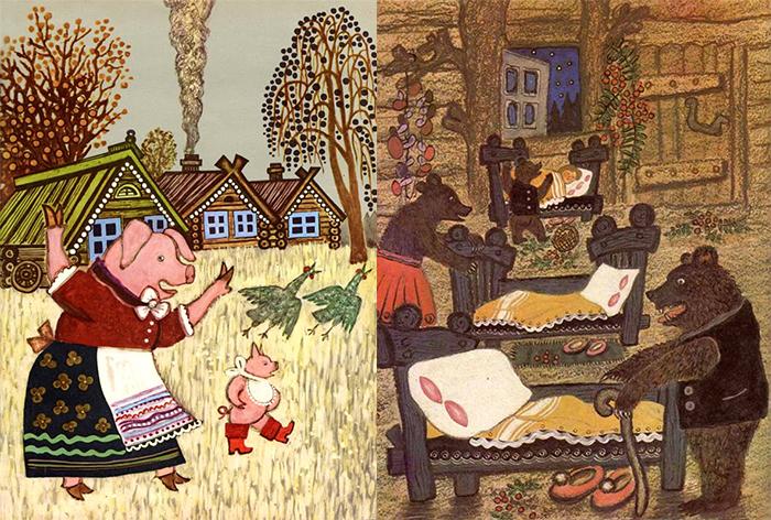 Васнецов иллюстрировал множество русских сказок и потешек.