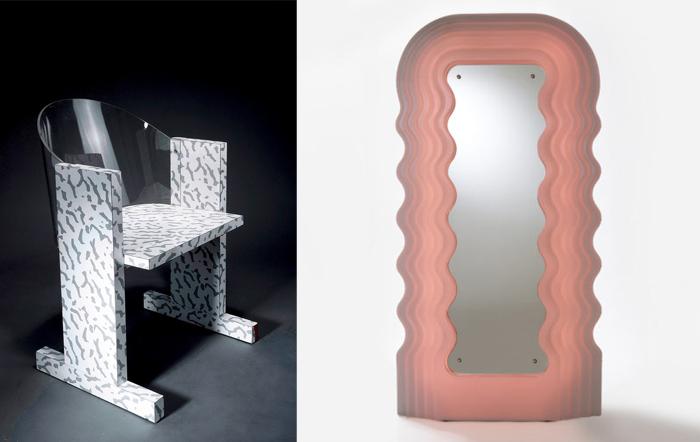 Кресло с отделкой из ламината и зеркало-волосы.