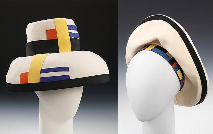 Шляпки, вдохновленные Мондрианом.