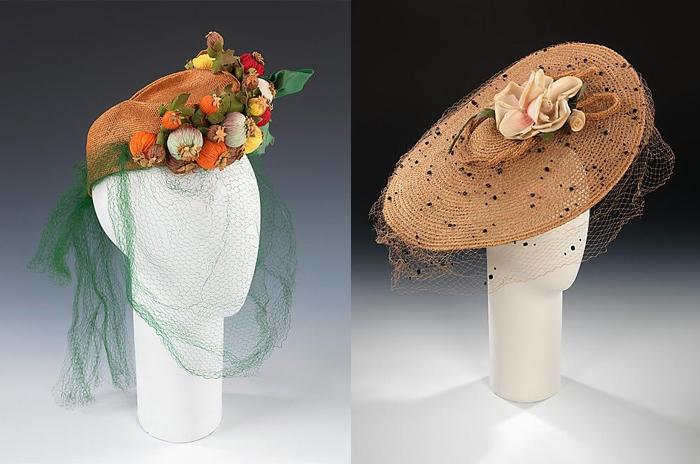 Шляпки с искусственными цветами и вуалями.