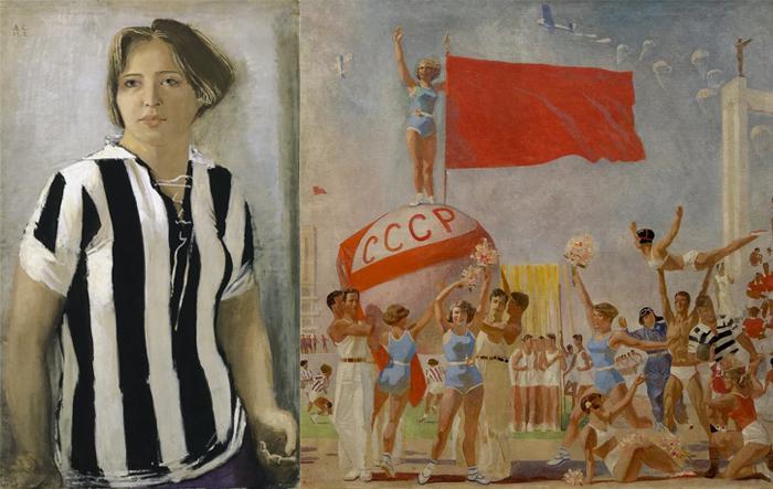 Девушка в футболке. Советская физкультура.