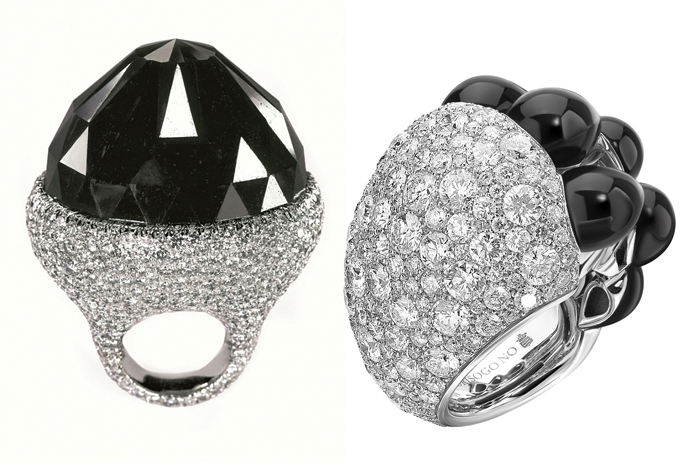 Кольца с черными бриллиантами.
