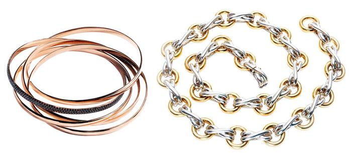Сочетание золота и серебра, когда-то считавшееся недопустимым - одно из любимых решений Паломы Пикассо.