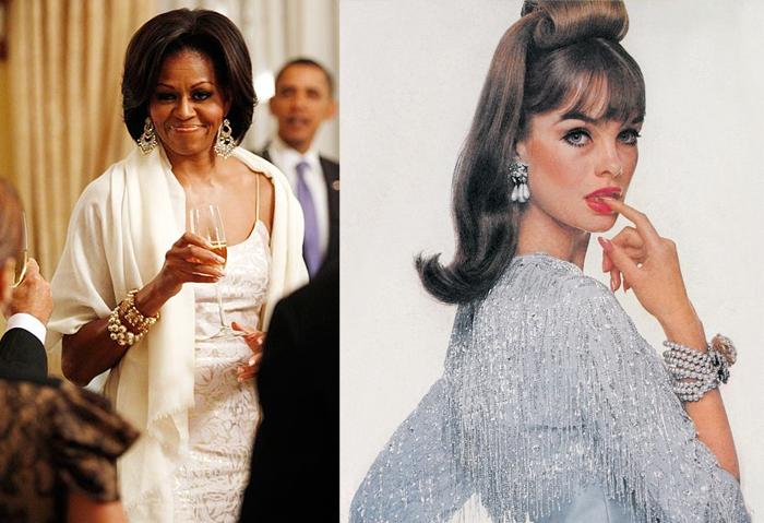 Мишель Обама и Джин Шримптон в украшениях Miriam Haskell.