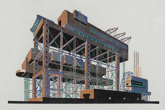 Индустриальные постройки были темой и практической работы Чернихова.