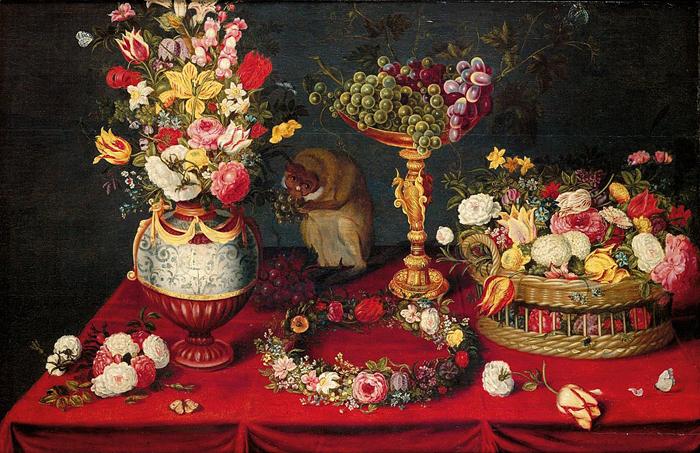 Натюрморт с фруктами, цветами и обезьянкой.