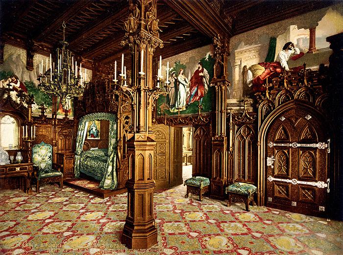 Гравюра с изображением королевской спальни.