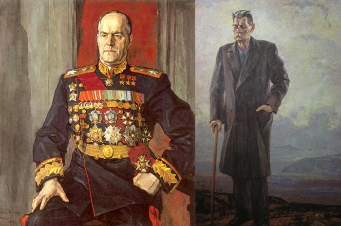 Портрет маршала Жукова. Портрет Максима Горького.