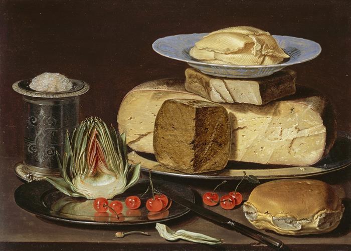 Натюрморт с сыром, артишоками и вишней.
