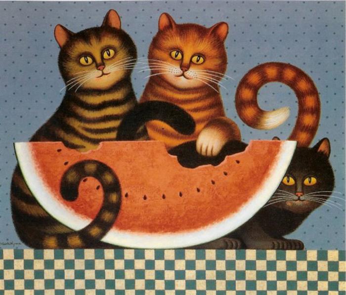 Кошки Чарльза Высоцки в духе примитивизма.