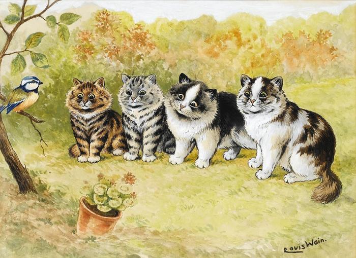Уэйн прославился изображениями кошек.