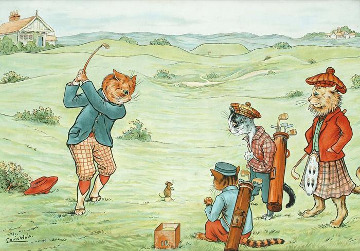 Кошки играют в гольф.