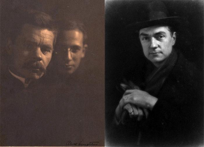 Слева - фотография Максима Горького с приемным сыном.