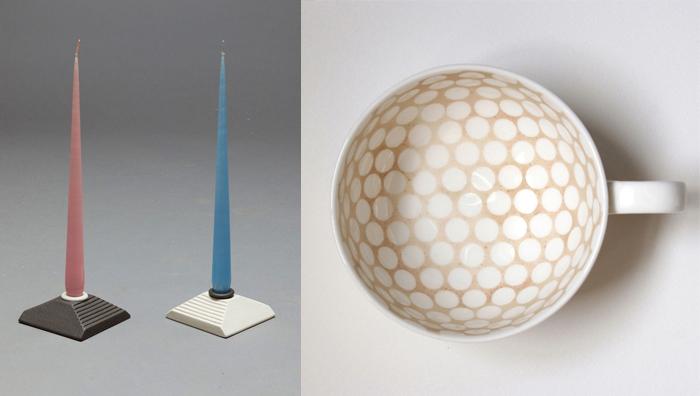 Свечи, подсвечники, чашка с орнаментом внутри.