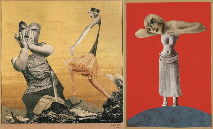 Коллажи Ханны Хёх, совмещающие журнальные вырезки с примитивным искусством.