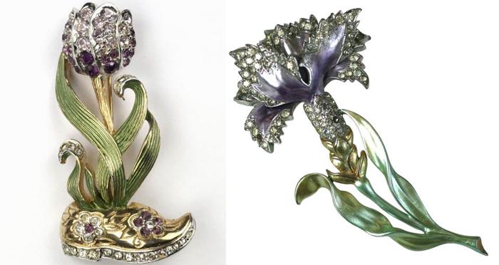 Броши Boucher в форме цветов. Новые материалы позволяли сделать их крупными, но легкими.