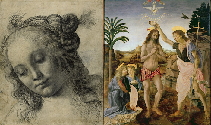 Рисунок женской головы. Крещение Христа.