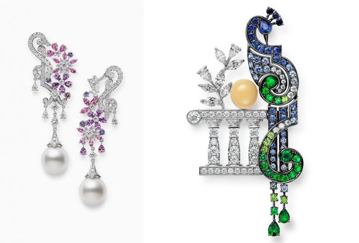 Современные украшения марки Mikimoto.