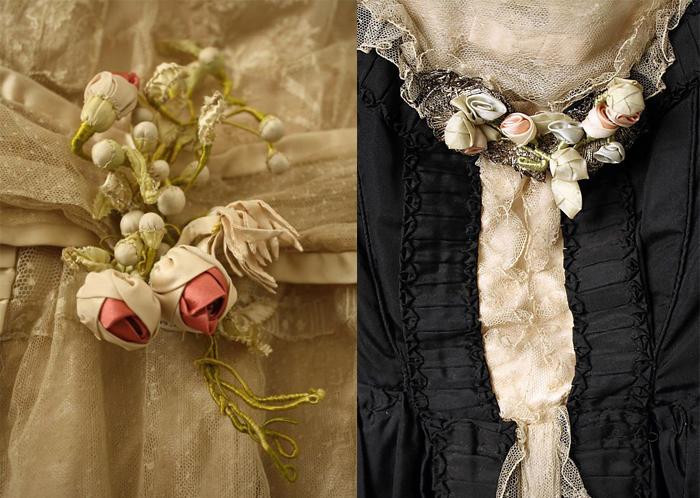 Детали отделки платьев.
