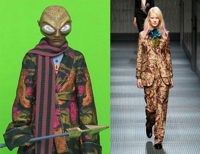 Реклама Gucci и модель на одном из первых показов Микеле.