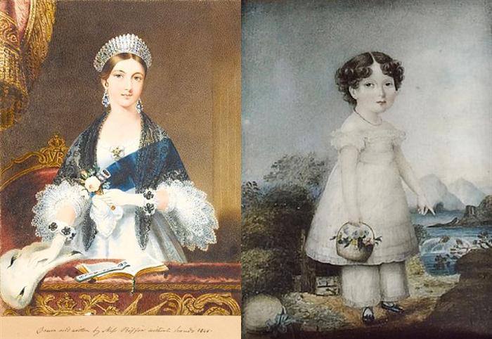 Слева - портрет молодой королевы Виктории.