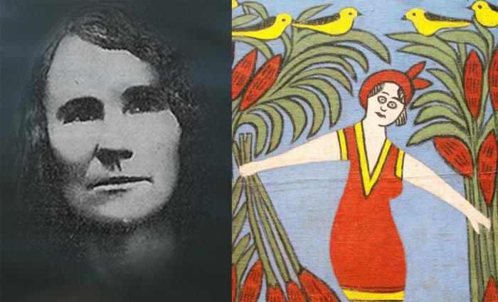 Единственное фото Алены Киш и фрагмент ее ковра.