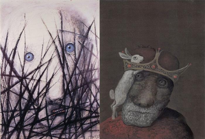 Грустные и тревожные лица в работах художника.