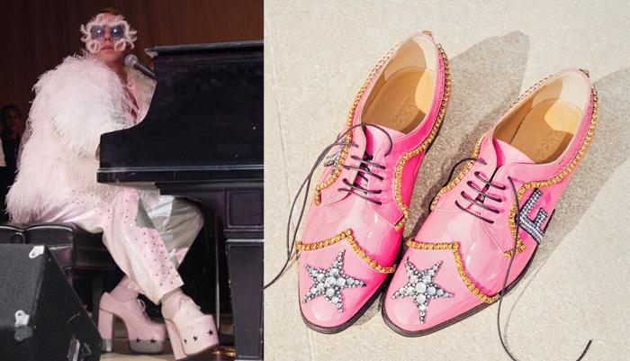 Концертная обувь Элтона Джона - тогда и сейчас.