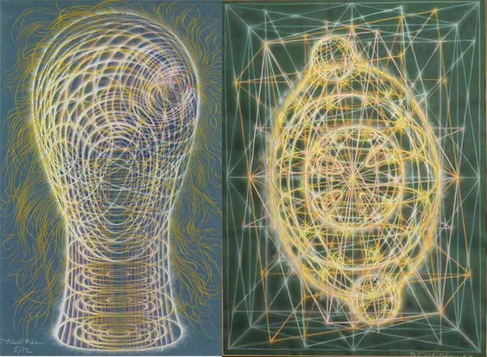 Метафизическая голова и абстрактная работа Челищева.