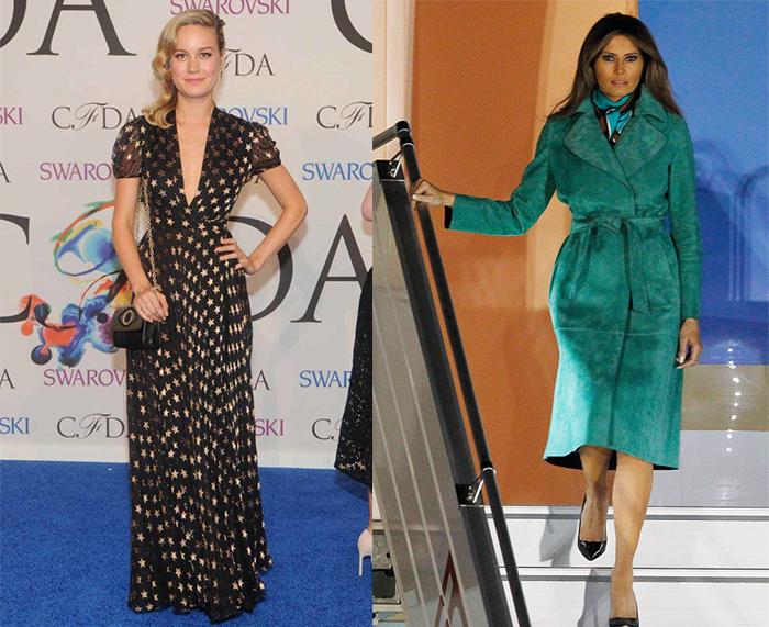 Бри Ларсон в платье и Меланья Трамп в платье-пальто от DVF.