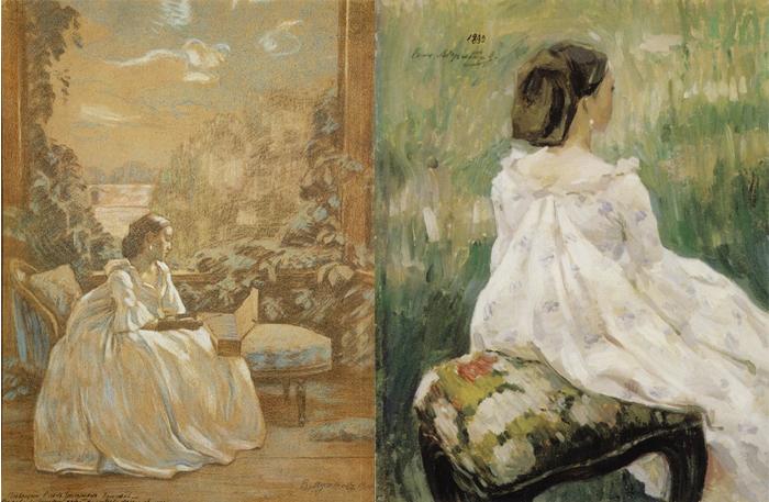 Прекрасные дамы в старинных платьях - любимый образ художника.