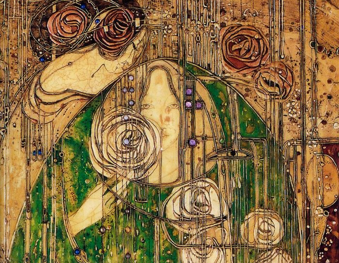 Панно Маргарет Макдональд в Ивовых чайных комнатах, фрагмент.