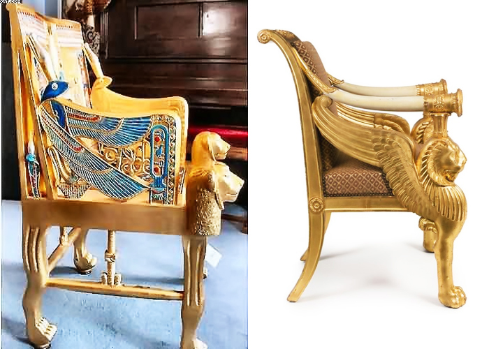Древнеегипетское кресло и кресло стиля ампир, Франция, XIX век.