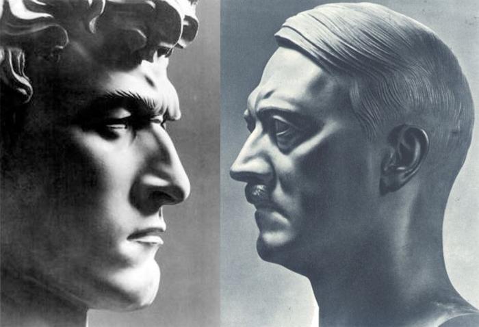 Справа - скульптурный портрет Гитлера.