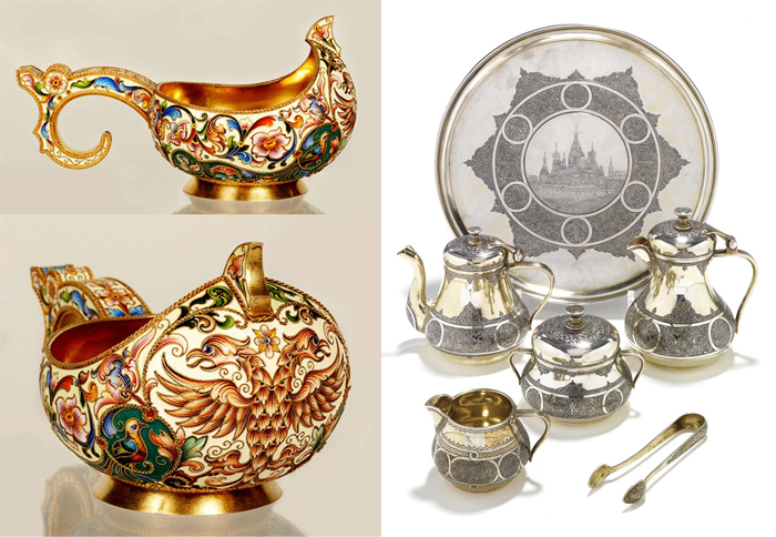 Изделия в русском стиле и сервиз с видами Москвы.