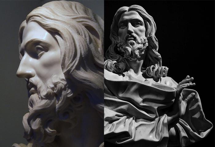 Скульптурный бюст Христа - новаторское и смелое решение.