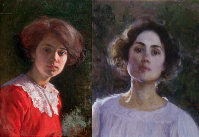 Женский портрет и автопортрет.