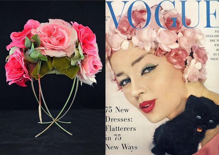 Справа - модель в шляпке от Салли Виктор на обложке Vogue.