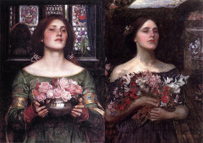 """Женщина с розами""""(слева), эскиз к картине Офелия (справа)."""