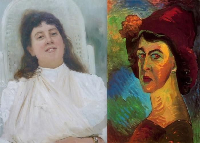Портрет Марианны с простреленной рукой кисти Ильи Репина и автопортрет Марианны Веревкиной.
