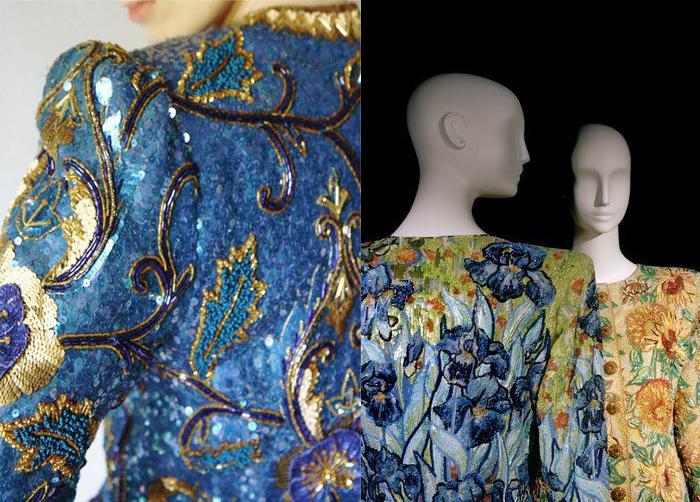 Справа - вышивки по мотивам работ Ван Гога.
