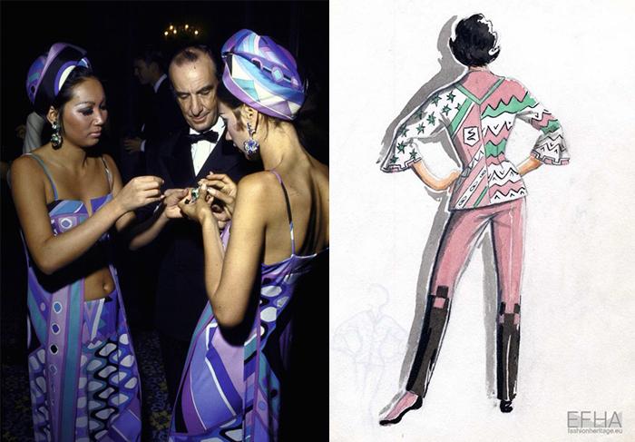 Эмилио Пуччи с моделями. Эскиз костюма.