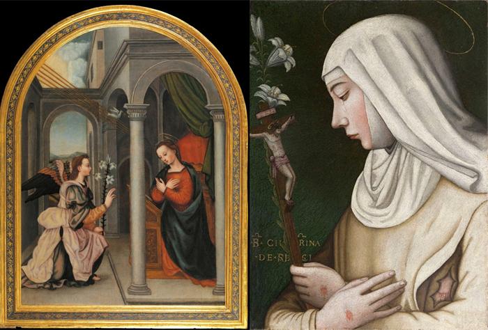 Благовещение. Св.Екатерина с лилиями.