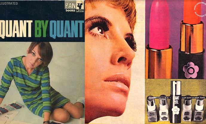 Обложка биографии и реклама косметики Мэри Куант.