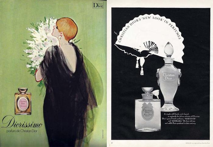 Иллюстрации Рене Грюо, выполненные для Dior.