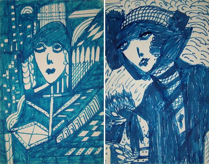 Мадж использовала ручку и чернила для своих рисунков.